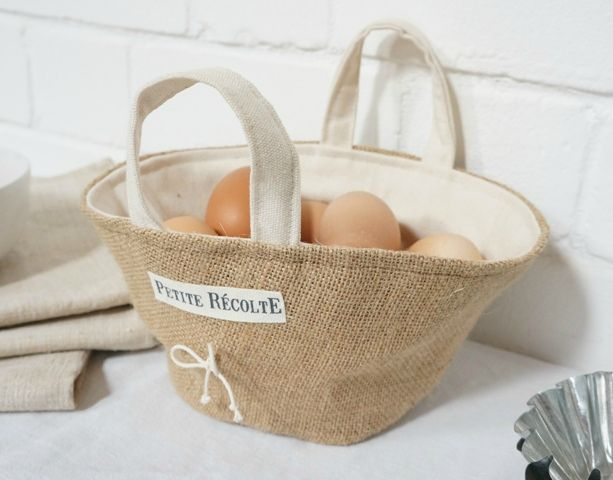 burlap basket with cotton liner- france