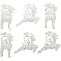 "Christmas Holiday White Glitter Elegant Reindeer Ornaments - Set of 6, 7"" x 3"" x 1"""