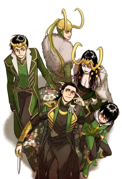 loki from the comic, to the movie, to the art work of Mrs.Loki and Kid loki( and to the new loki comic)