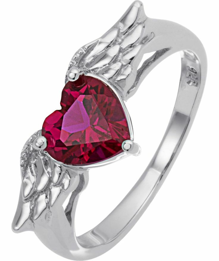 Buy Sterling Silver and Created Ruby Wings Heart Ring at Argos