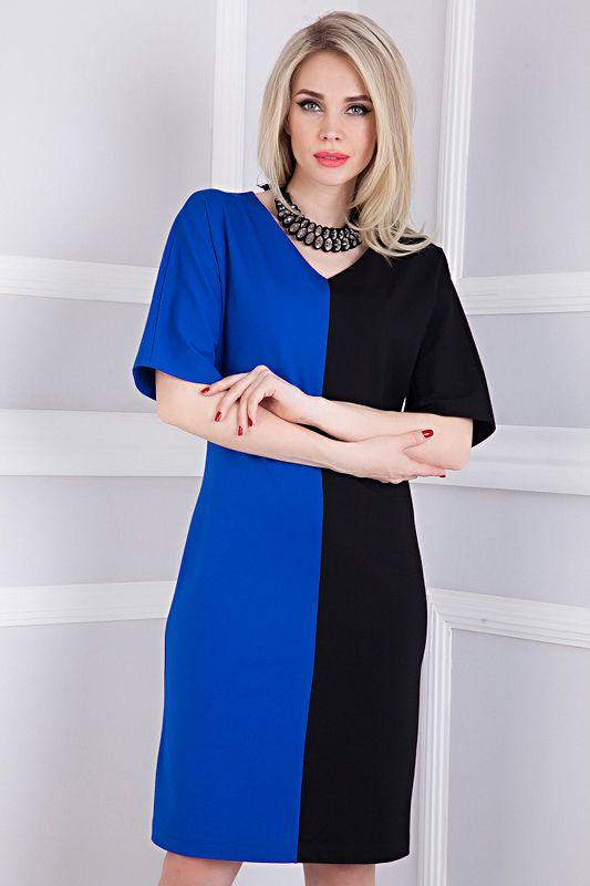 Стильное комбинированное платье Акварель-4130 - интернет-магазин Moda-nsk