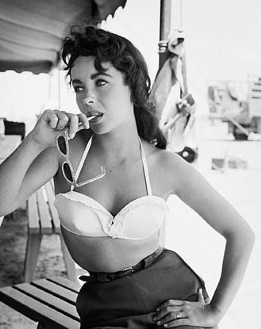 Elizabeth Taylor on the set of Giant wearing bustier No 2. Photo by Frank Worth, 1955.