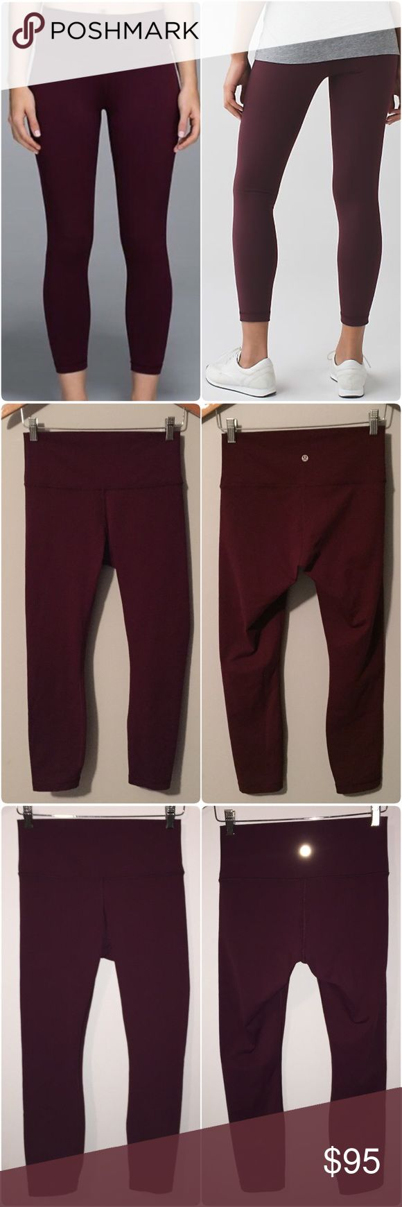 Lululemon High Times Pant Lululemon High Times Pant in Bordeaux Drama color, size 8, gently worn & in great condition with no flaws(meaning no rips/holes/piling/seam damages/snags/etc). Super soft Full on Luon fabric provides great coverage, is moisture wicking, and four way stretch. Added Lycra fibre bends with you & makes them stay in great shape, hidden pocket in waistband, 7/8 length, tight fit, high rise. 3rd pic & bottom 2 pics in 4th pic are with the camera flash on. True to color in…