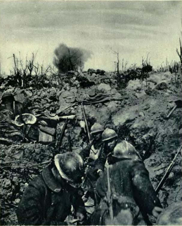 WWI, French troops in captured German trench