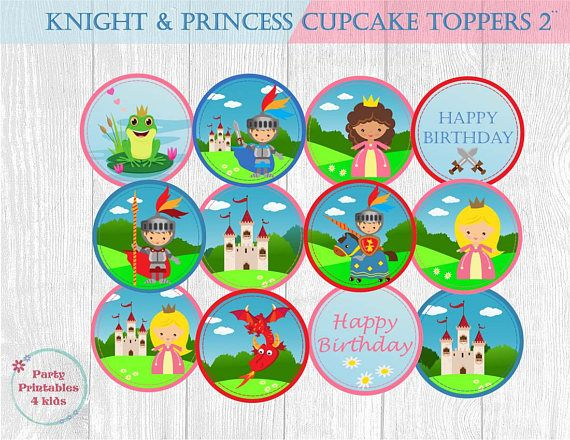 Knights and Princesses Cupcake Toppers Birthday Tags Circle