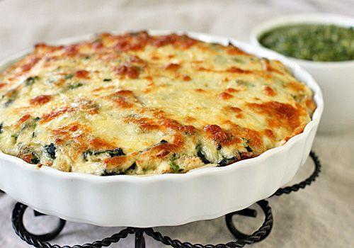 chicken and spinach tortilla pie