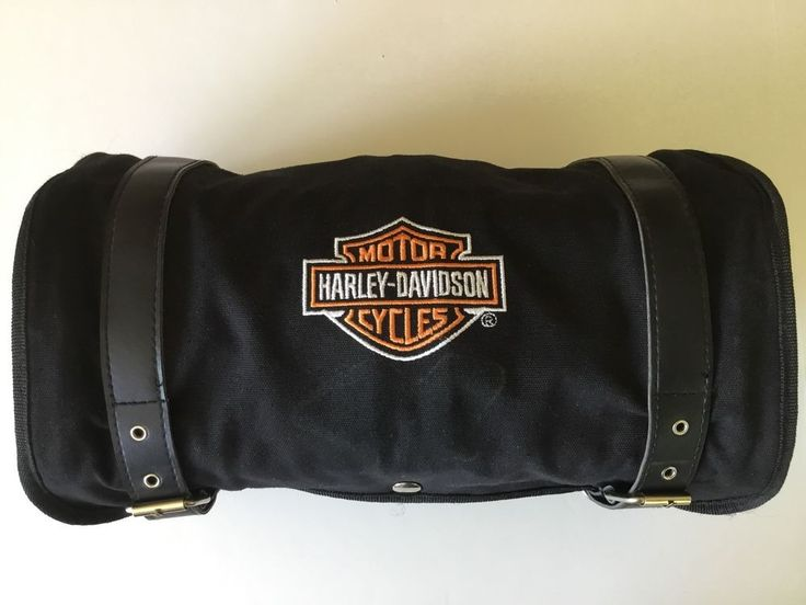 Harley Davidson Luggage Travel Roll Pack Black Straps Buckles 8 Compartments  #HarleyDavidson