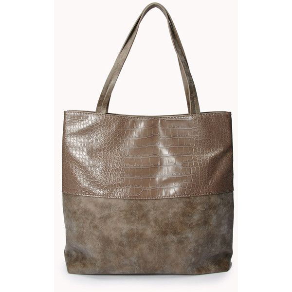 replica handbags made in china - FOREVER 21 Luxe Faux Croc Panel Tote ($28) ? liked on Polyvore ...