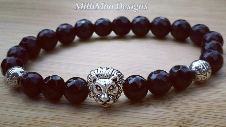 Mens/Unisex Semi Precious Faceted Black Onyx Bracelet with Antique Silver Plated Lion Head Bead,Lion Bracelet,Black Onyx,Mens,Lion Head,Boho by MilliMooDesigns on Etsy