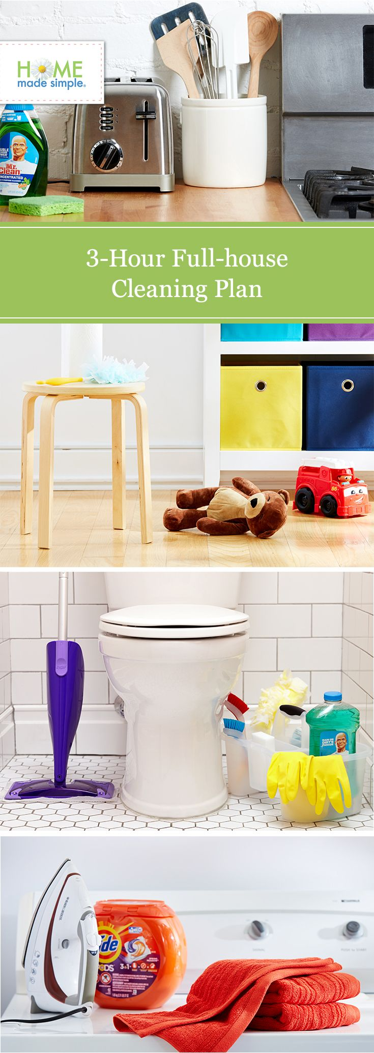 Clean the whole house in 3 hours or less? It really is possible with our time-saving plan. Get our minute-by-minute guides and tips for the kitchen, bathrooms, kids' bedrooms, laundry room and patio.