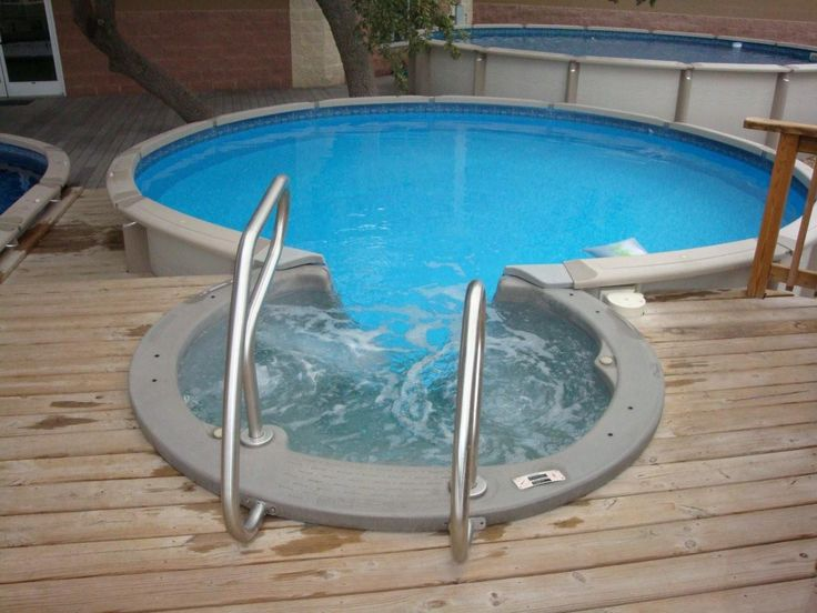 Wood decks above ground pools small round above - Above ground swimming pool lights ...