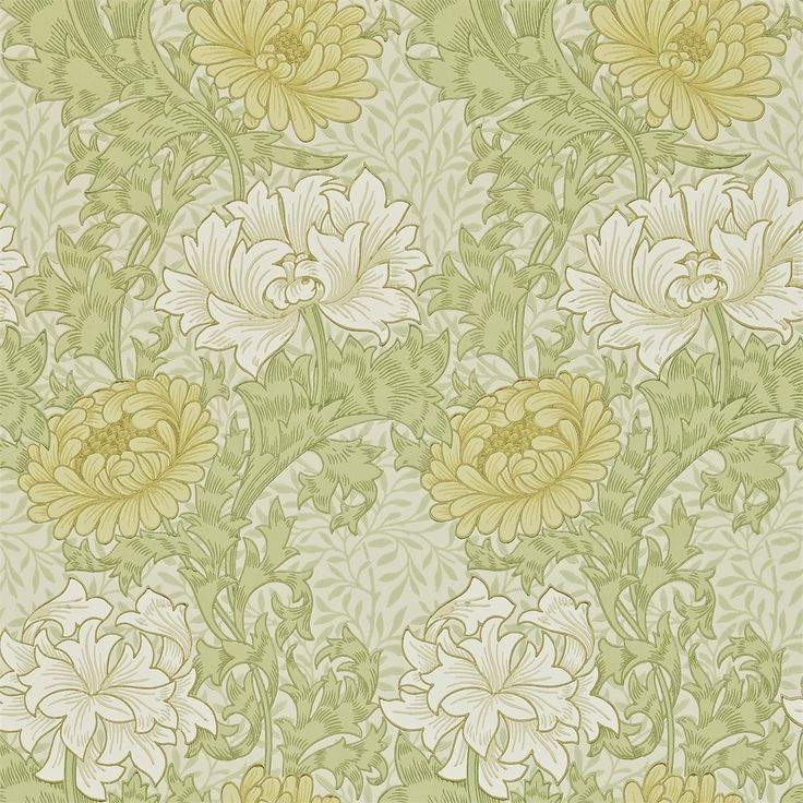 The Original Morris & Co - Arts and crafts, fabrics and wallpaper designs by William Morris & Company | Products | British/UK Fabrics and Wallpapers | Chrysanthemum (DARW212545) | Archive II Wallpapers