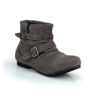 Slip On Dual Buckles Ankle Boot Grey $19.99