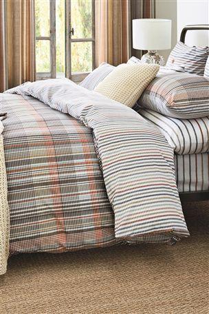 Natural Check Bed Set