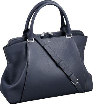 C de Cartier bag, small model Codierite-colored taurillon leather, palladium finish