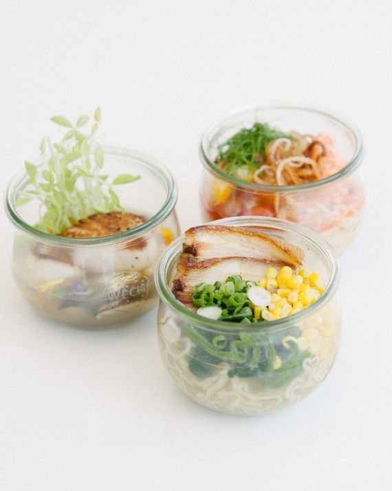 Personalize your own station with snack-sized food of the groom's favorite dish or whatever food you ate on your first date. 24 Carrots created a station with mini bowls of ramen where guests can go crazy with their own toppings.