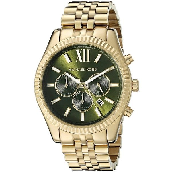 Michael Kors Men's MK8446 'Lexington' Chronograph Gold-Tone Stainless... ($226) ❤ liked on Polyvore featuring men's fashion, men's jewelry, men's watches, green, mens stainless steel watches, men's blue dial watches, michael kors mens watches, mens chronograph watch and mens watches