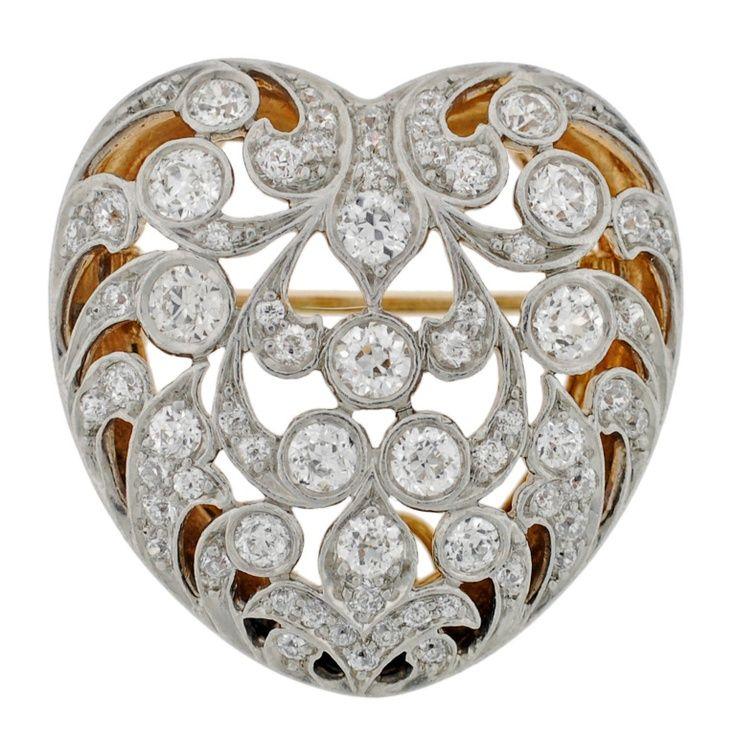 TIFFANY & CO. Art Nouveau Diamond & Gold Heart Pin/Pendant