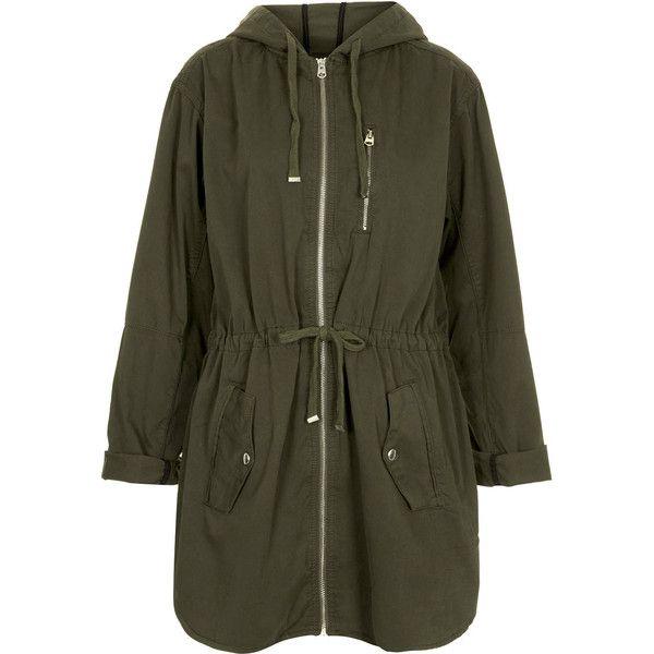 TOPSHOP Lightweight Khaki Parka Jacket ($44) ❤ liked on Polyvore featuring outerwear, jackets, coats, topshop, khaki, light weight jacket, lightweight jackets, khaki jacket, cotton parka and lightweight parka jacket