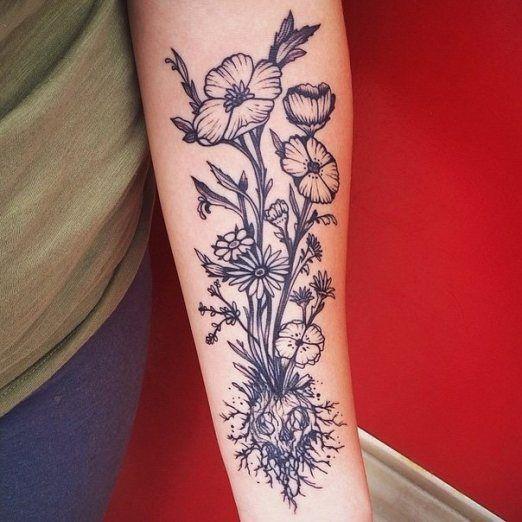 Dead Flower Tattoo Skulls the skulls and flower tattoos on pinterest