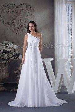 Robe de mariée plage asymétrique chiffon fleur traîne chapelle