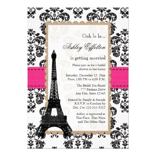 Hot Pink Eiffel Tower Parisian Bridal Shower Announcements