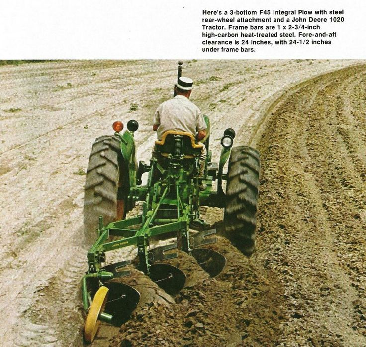 Brochure page showing a John Deere 1020 tractor with 3 bottom F45 integral plow.