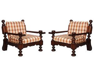 Mid century modern country pair of armchairs in solid durmast ideal for furnishing mountain houses or taverns