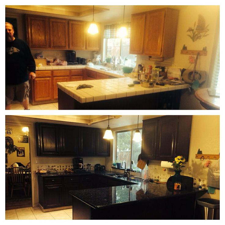 Blue Kitchen Paint Colors With Oak Cabinets Nameahulu: Oak Cabinets To General Finishes Brown Mahogany. Love Them