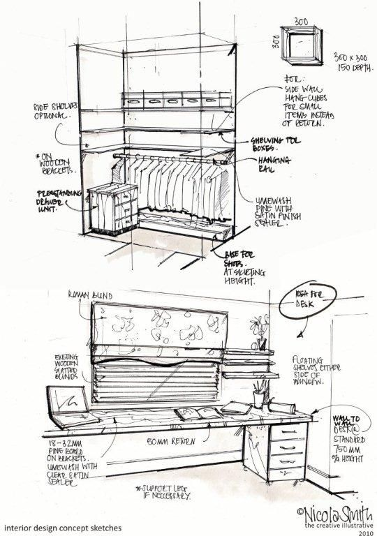 basic interior design drawings with notes