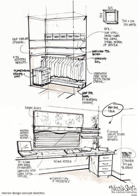 Interior design drawings.