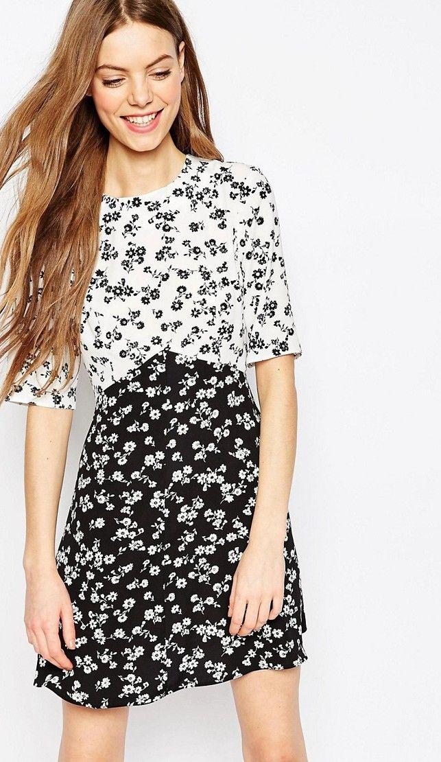 Vestito a pois nero e bianco color