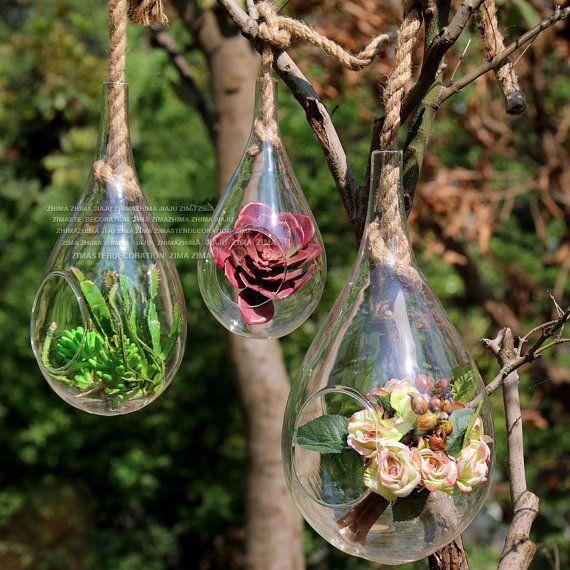 Conjunto de 3 terrarios de lágrima de cristal sostenido por cuerda/pared colgar plantas, terrarios, colgante suculentos los sostenedores del plantador decoran la ventana del dormitorio