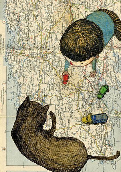 mapping where he and his cat might go