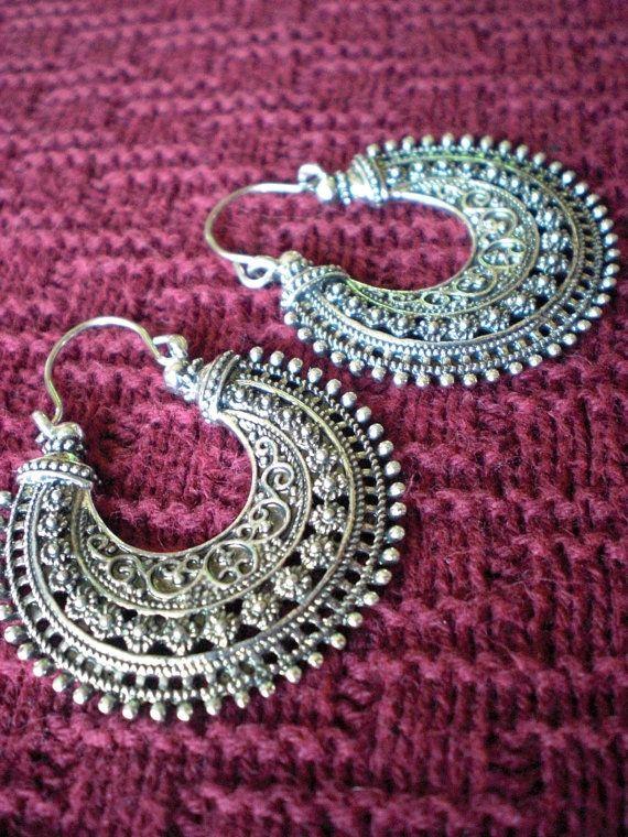 Tribal Filigree Ethnic Gypsy Earrings Silver Brass Gold by mraur, $20.00
