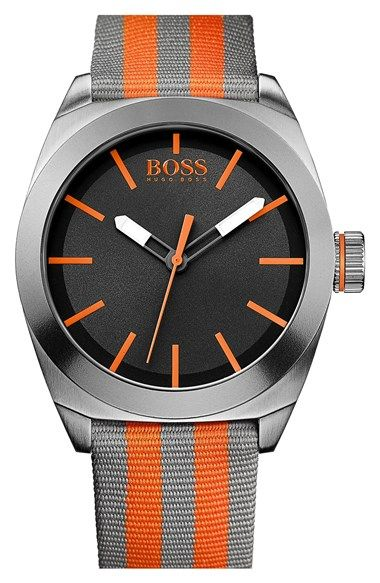 Men's BOSS Orange Round Nylon Strap Watch, 42mm Grey/ Orange One Size