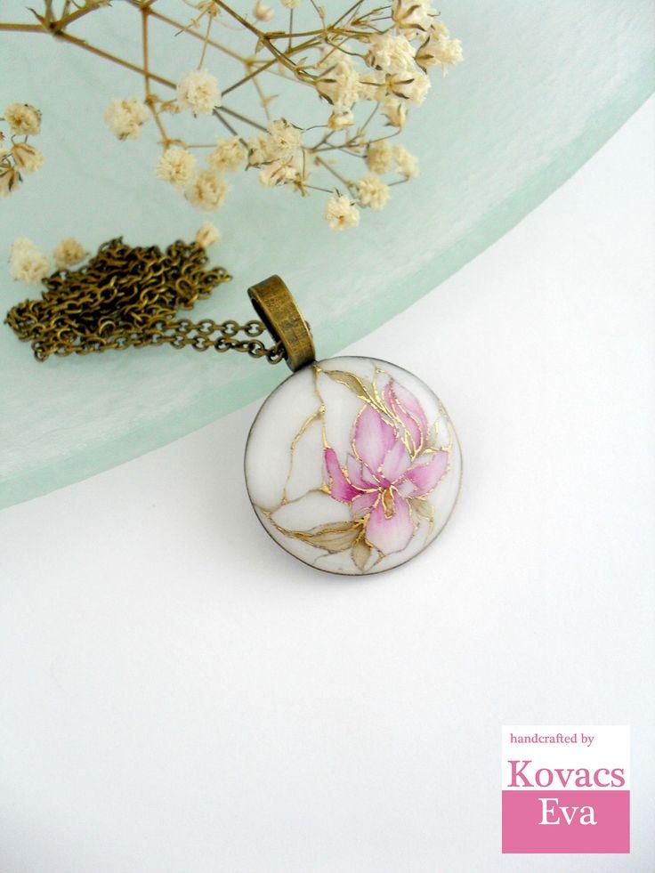 White pendant.akvarell iris pendant.Handpainted necklace.White gold flower pendant.Lilac pale pink pendant.
