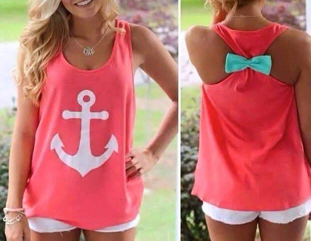 Anchor Tank Top with Bow on the Back - Available in 3 Colors! by SouthernStitchGifts on Etsy https://www.etsy.com/listing/221516852/anchor-tank-top-with-bow-on-the-back