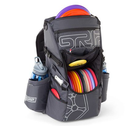 The Grip EQ C15 disc golf bag improves the utility with an ample 14 disc compartment that also includes enlarged 34oz (1.0 ltr) insulated bottle pockets.