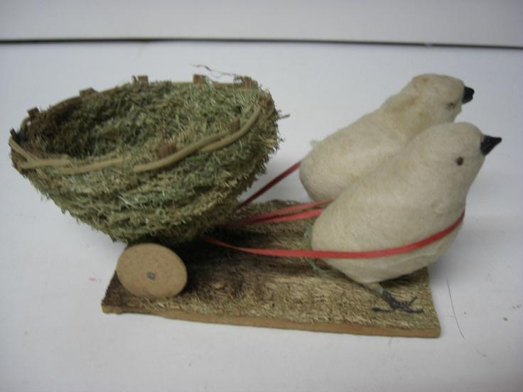 Spun Cotton Chicks Pull Loofa Easter Basket on Wheels