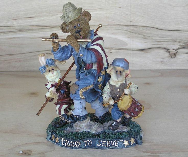 """Boyds Bears & Friends 2000  """"Fife and Drum"""" Resin A Tribute to All Vet's"""
