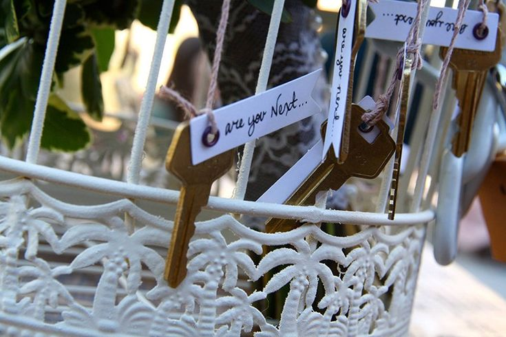 Birdcage love lock bouquet toss alternative as seen on @offbeatbride