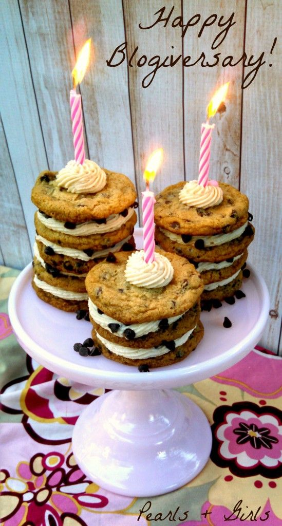 Chocolate Chip Cookie Stacks + Blogiversary ~ Pearls + Girls