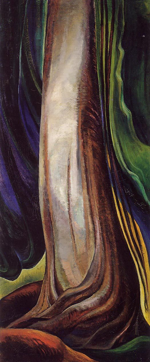 'Tree Trunk' (c. 1931) by Canadian-born painter Emily Carr. Oil on canvas, 129.1 x 56.3 cm via Art Tattler