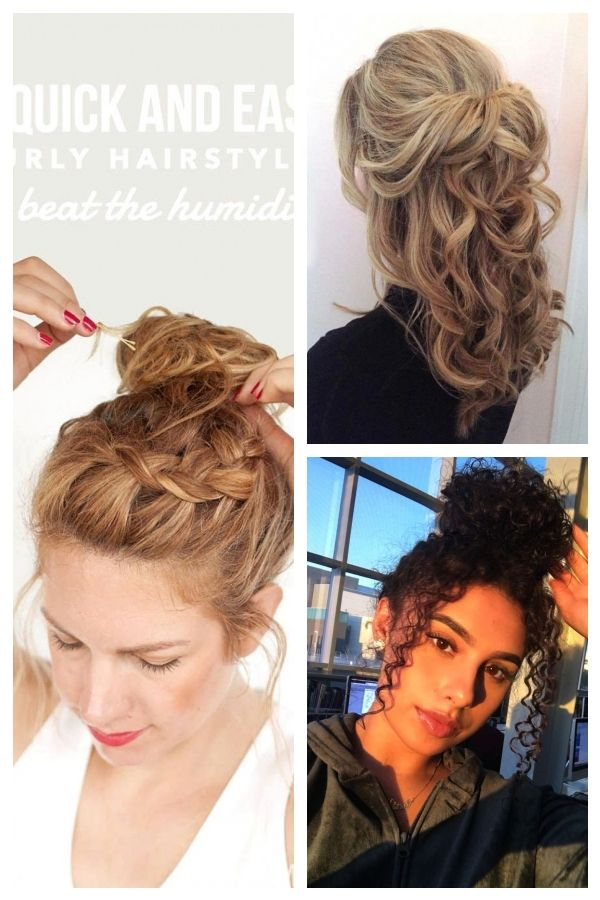 5 Quick And Easy Curly Hairstyles To Beat The Humidity Hair Styles Curly Hair Styles Easy Curly Hair Styles