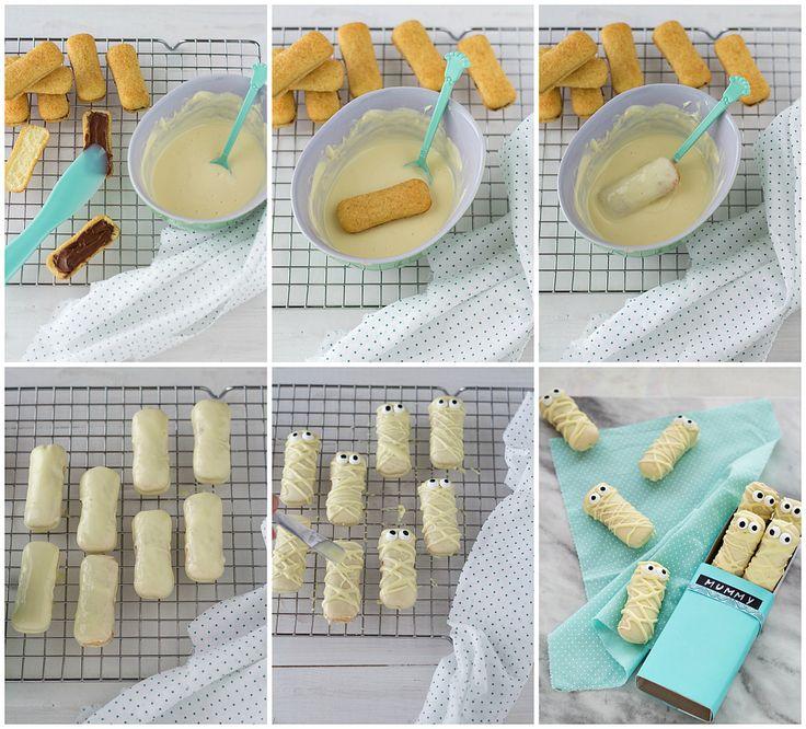 Mummy cookies, tutorial Biscotti Halloween: Mummie di pavesini
