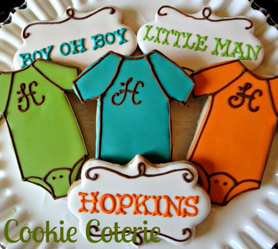Baby Onesie Personalized Decorated Cookies Baby Shower Cookie Favors One Dozen
