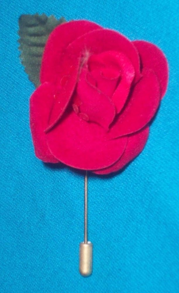 Vintage Fabric Red Rose Flower & Leaf Gold tone metal Lapel Stick Pin Brooch #Unbranded