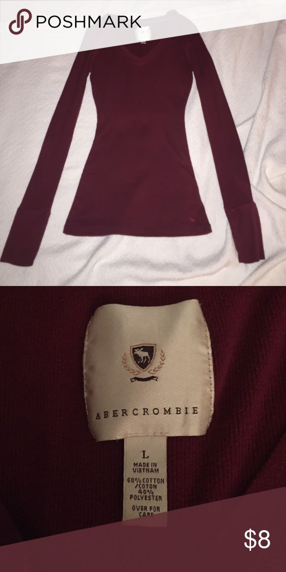 Abercrombie and Fitch long sleeved tshirt Maroon Abercrombie and Fitch long sleeved tshirt, gently worn Abercrombie & Fitch Tops Tees - Long Sleeve