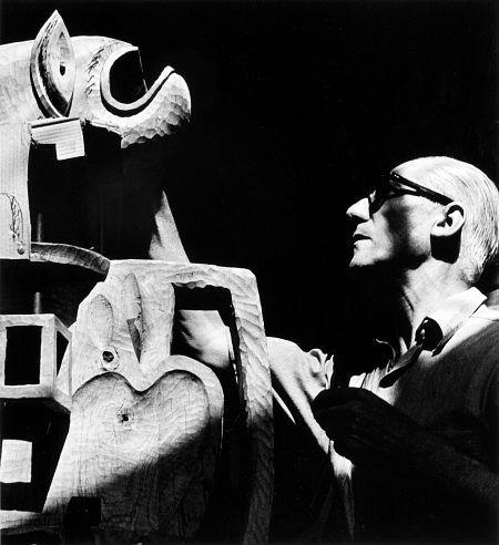 Le Corbusier, Boulogne ca 1950 -by Lucien Hervé